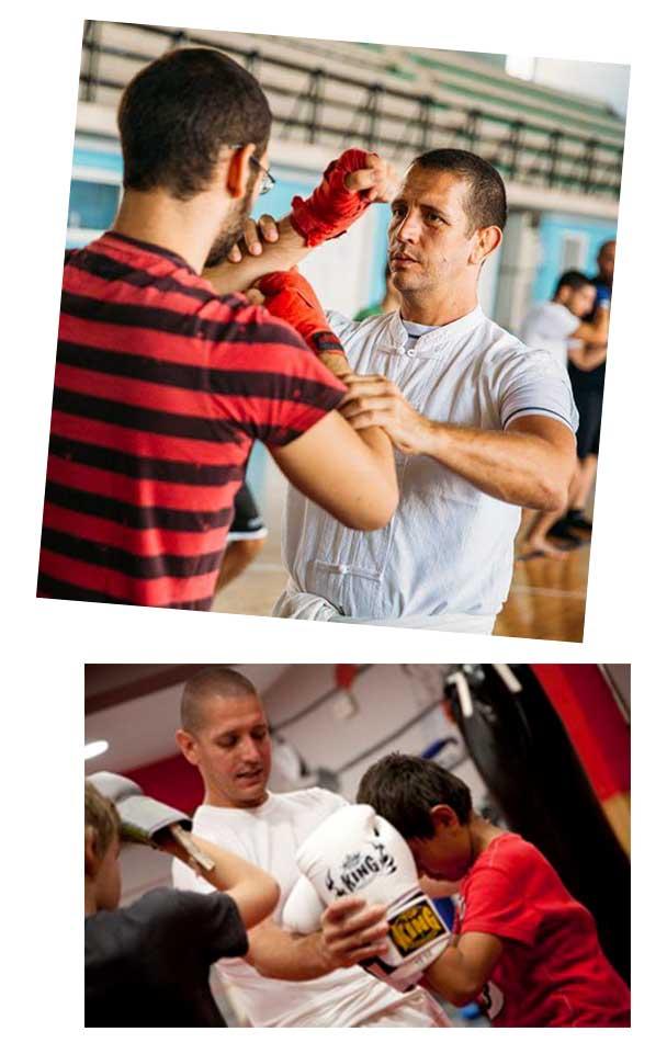 Pedro Solana teaches muay thai to his students